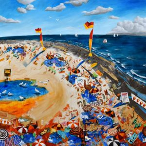 Beach Painting of A Summer's Day For Sale Online