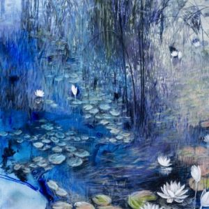 Waterlily Mist Acrylic Bush Painting For Sale