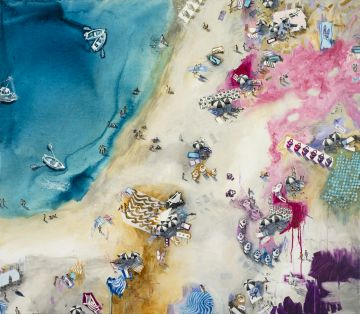 Original Art Painting of Magenta Beach for Sale
